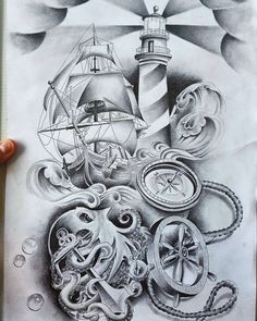 #nauticaltattoo #tattoodrawings #tattoos #tattoodesigns #artwork #art #octopus #shiptattoo #lighthouse #lighthousetattoo #drawings by simmo8866