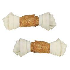 Huesos de piel con cobertura de filete de pollo y especialmente gruesas para un mayor tiempo de masticado.