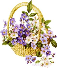Basket of beautiful flowers Decoupage Vintage, Decoupage Paper, Flower Images, Flower Pictures, Art Floral, Etiquette Vintage, Silk Ribbon Embroidery, Flower Cards, Vintage Cards