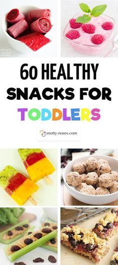 60 Healthy Snacks for Toddlers. Whether looking for a healthy snack recipe or a healthy snack idea, this is the post for you. Even if you have a fussy toddler or a picky toddler you're sure to find a healthy snack that your toddler will love! Toddler Nutrition, Healthy Toddler Snacks, Toddler Lunches, Easy Snacks, Healthy Kids, Homemade Toddler Snacks, Healthy Meals, Healthy Nutrition, Picky Toddler Meals