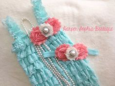 SALE..Aqua and Coral Lace Petti Romper and by HarperSophiaBoutique, $35.99 nellie if its a girl im buying this for the wedding :)
