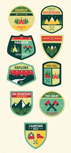 designtnt vector outdoor camp badges 1 large Vintage Outdoor Camp Badges Set 1