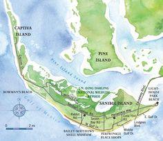 Destination information on Sanibel Island & Captiva Island, Florida. Includes island accommodations, restaurants, activities and attractions Sanibel Island Map, Sanibel Beach, Captiva Island, Island Beach, Florida Tourism, Florida Travel, Florida Beaches, Clearwater Florida, Sarasota Florida