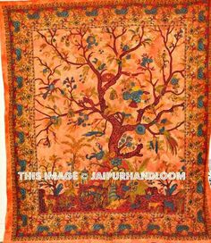 Orange Tree Of Life Tapestry Hippie Tapestries Wall Tapestries
