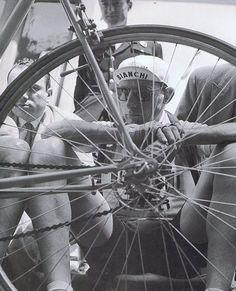 Coppi shot thru back wheel