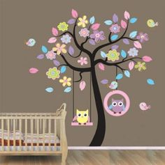 XLarge colorful tree and owls wall sticker nursery bedroom art decoration children holiday party decorative mural removable owl tree baby ki...