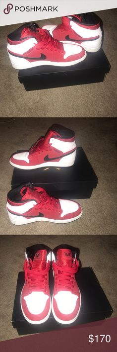 d22b7ffbf847b9 Shop Men s Air Jordan Red White size 10 Sneakers at a discounted price at  Poshmark. Description  Slight crease on shoe