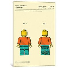 "East Urban Home 'Godtfred K. Christiansen and Jens N. Knudsen (Lego) Toy Figure (""Minifigure"") Patent' Graphic Art Print on Canvas Size: 60"" H x 40..."