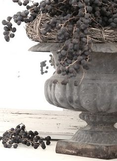 French country farmhouse: urn with berries