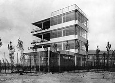 Open-Air School for Healthy Children, Cliostraat, Amsterdam, Holland. Jan Duiker, architect, 1930. Designed for children in good health, it was intended to extend the educational benefits to all school children and was to be built in the city on a 2000 square meter plot in the middle of a housing block. Duiker responded to the challenge by designing the classrooms in pairs, with a terrace between for open-air activities. They were superimposed on one another, the blackboard in a corner…