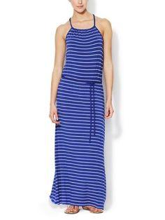 China Women's 95%Viscose 5%Spandex Knit Stripe Maxi Dress - China Dress, Maxi Dress
