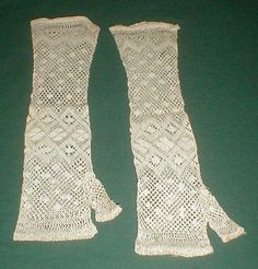 Lovely 1860's Civil War Era Cotton Crocheted Mitts | eBay seller fiddybee