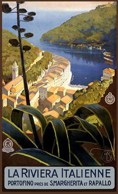 La Riviera Italienne: From Rapallo to Portofino - Vintage Travel Poster Vintage Italian Posters, Vintage Travel Posters, Vintage Art, Vintage Style, Old Poster, Poster Retro, Illustrations Vintage, Tourism Poster, Travel Ads