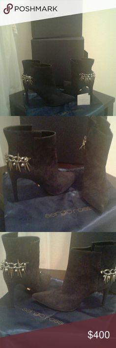 d76434fda9d4ba Sergio Rossi black suede ankle boots Black suede ankle boot with metal  spikes and balls dangling