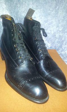 NOS DEAD STOCK 1900 20s W-M Co. US 8 8.5 ANTIQUE VTG mens BOOTS SPADE SOLE shoes #Boots