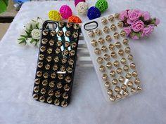 Studded bullet For iPhone 5 Set Studs Hard Skin Back Case Cover, for iphone5 golden studs case