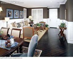 Cozy Living Room with Dark Brown Walls and Floor Dark Brown Walls, Grey Walls, Dining Room Inspiration, White Paneling, Cozy Living Rooms, Diy Home Decor, Sweet Home, Flooring, Interior Design
