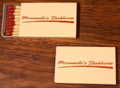Mormando's Steakhouse #matchboxes - To order your business' own branded #matchbooks or#matchboxes, go to www.GetMatches.com or call 800.605.7331 Today!