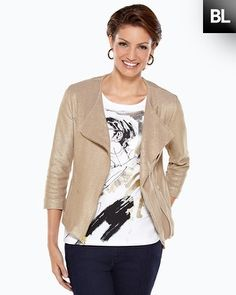 Chico's Black Label Gold Moto Jacket #chicos