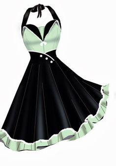 4cbd293a6b5e This Rockabilly Dress in mint green and black is a timeless beauty.