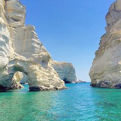 The famous cove of Kleftiko , at Milos island (Μήλος) . ... Used to be an old pirates hideout and now one of the most popular tourist attractions ! Amazing crystal-clear water , wonderful elaborate caves and imposing rock formations ... Perfect combination !