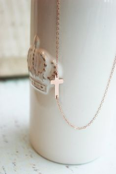 ROSE GOLD SIDEWAYS CROSS-ROSE GOLD CROSS NECKLACE-EVERYDAY ROSE GOLD NECKLACE  $48.00