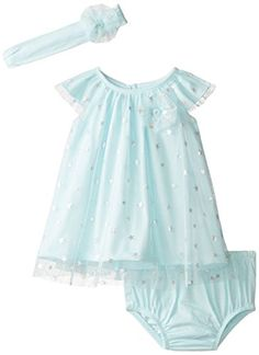 The Children's Place Baby-Girls Infant Flutter Sleeve Dress, Crystal Mint, 3-6 Months The Children's Place