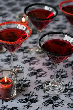 These would be perfect for the cocktail party idea! -- Cocktail rimming sugar red and black martini rimming sugar for your gothic party or vampire True Blood-inspired Halloween wedding! by Dell Cove Spice Co. in Chicago, Illinois.