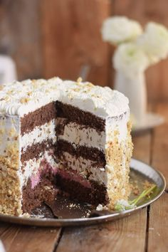 Marzipan Krokant Beeren Mousse Torte - Marzipan Brittle Berry Mousse Cake | Das Knusperstübchen