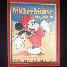 Set of 10 Framed Mickey Mouse Magazine Calendar Covers Pluto Goofy Donald Duck.