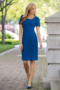 Short Sleeve Crepe Sheath Dress