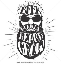 Beer makes beard grow. Oktoberfest illustration of a bearded man isolated on white background. Bearded beer lover. T-shirt print or pub poster