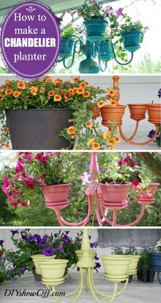 DIY chandelier garden. Instructions: http://diyshowoff.com/2013/06/11/chandelier-planter-tutorial-2/