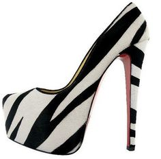 Stripped Black and White High Heels Shoes For Women