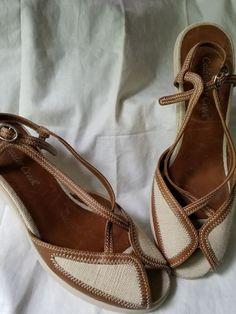cd0e7d165b4 Coldwater Creek 9 M Beige Tan Pump Heel Shoe Peep Toe Wedge Canvas Cloth   ColdwaterCreek