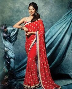 Red Sari with Floral Motifs by Lara Dutta #exclusivelyin #indochic #traditional #ethnic #indian #red #sari #floral #embellished #women #indianstyle #beautiful #hairstyle #laradutta #fashion #sensual