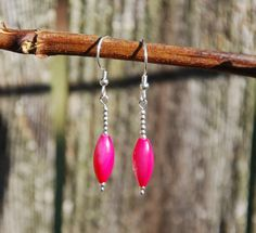 Handmade hot pink shell earrings with by KarmaKittyJewelry on Etsy $12.50
