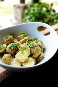Creamy Lemon Basil Potato Salad: What to do about the lemon and basil. Love the texture of the potato as well. Hankering for a Napa Valley Sauvignon Blanc with hints of herbs and citrus. @Reena Dasani Drummond | The Pioneer Woman