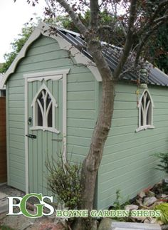 dezign wuud: Looking for Irish garden shed plans Painted Garden Sheds, Painted Shed, Shed Organization, Shed Storage, Garden Sheds Ireland, Gothic Garden, Potting Sheds, Potting Benches, She Sheds