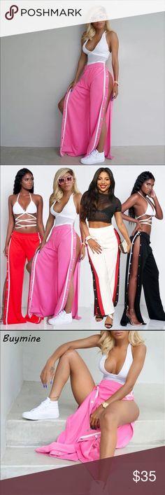 2017 Runway Slay Available Now!! 2017 Runway women wide leg pants palazzo long Capri ladies casual, loose side split bohemian bottom, sexy button trousers. Great Deal🎉 Kamrens Kloset Pants Track Pants & Joggers