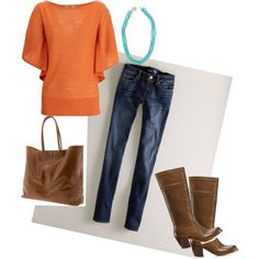 If that orange was a different color, I would be all over this outfit! I love everything else though! I especially love the bag and boots! :)