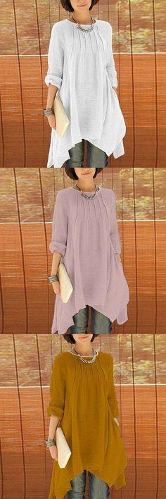 US$ 22.95 Women Long Sleeve Pure Color Asymmetrica Loose Shirts