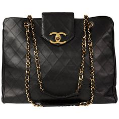 7f31063e198f 1990s Chanel Black Quilted Lambskin Vintage Jumbo Supermodel Tote