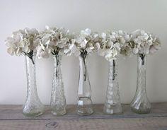 Set of Five Vintage Clear Glass Bud Vases  Instant by 22BayRoad