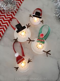 Melted Snowman Tea Light Ornaments - Crafty Morning