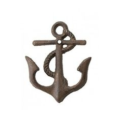 1 X Cast Iron Nautical Anchor Hook ~ Rustic Brown