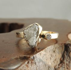 Such a unique setting! Large Rough Diamond 14k Gold Ring, Handmade Engagement Ring, Uncut Diamond Ring, Raw Diamond, Eco Friendly, Diamond Ring