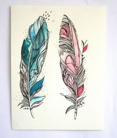 Imagen de drawing and feathers