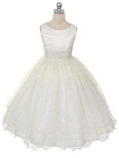 Ivory Lace Tulle Layered Flower Girl Fancy Elegant Easter Communion Girl Dress #AkiShop #HolyCommunionFirstCommunionPartyEasterDressyEverydayHolidayPageantWedding