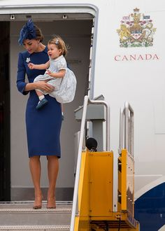 (L-R) Catherine, Duchess of Cambridge and Princess Charlotte of Cambridge arrive at 443 Maritime Helicopter Squadron on September 24, 2016 in Victoria, Canada.